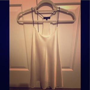 White satin racerback blouse